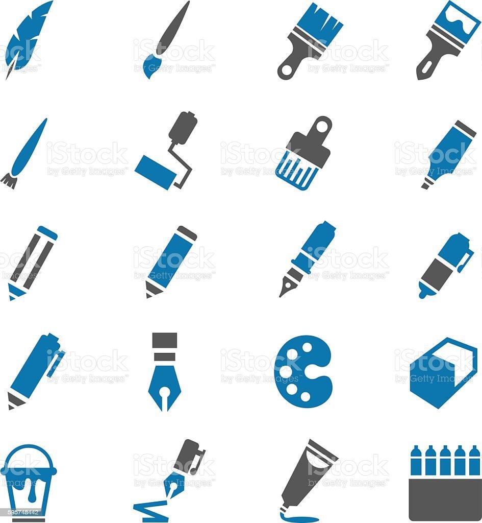 Art icons set vector art illustration