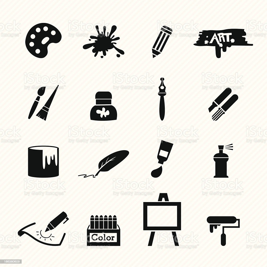 Art icons vector art illustration