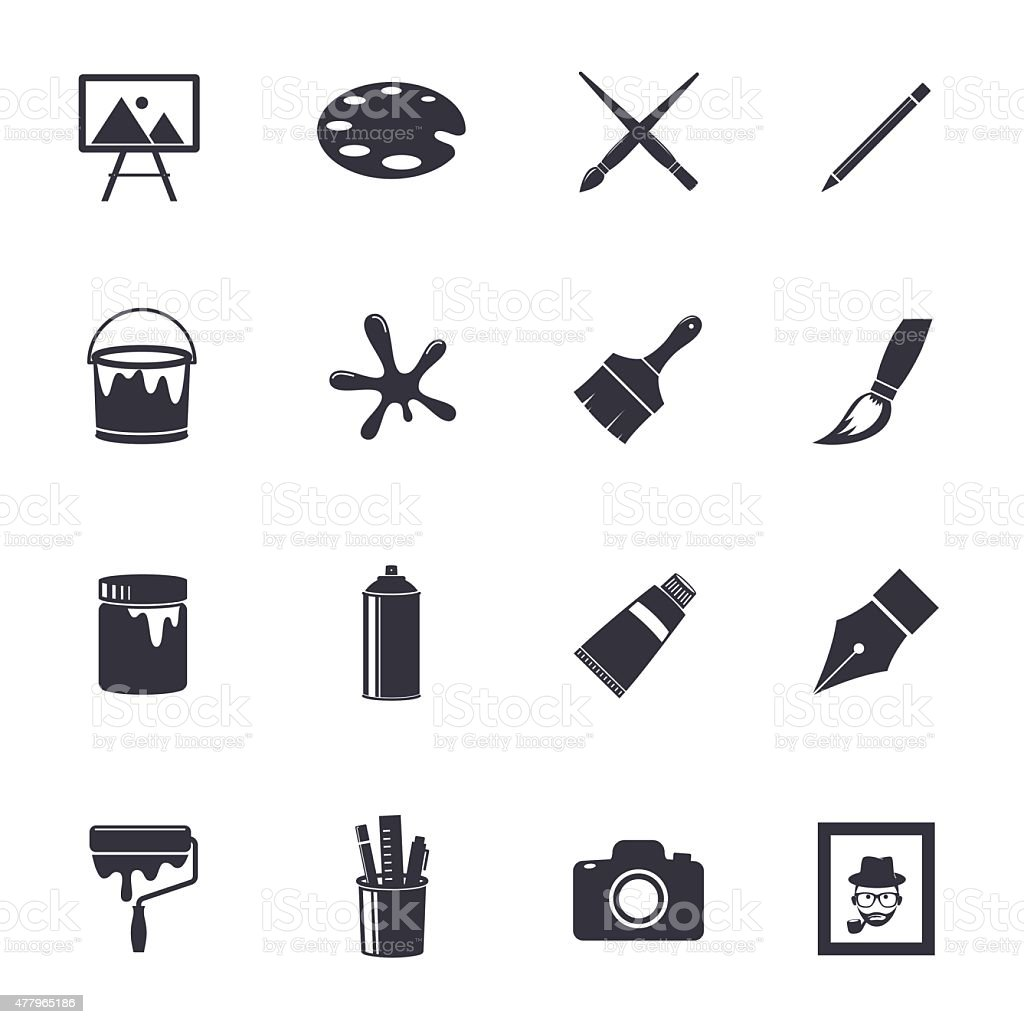 Art icons vector art illustration