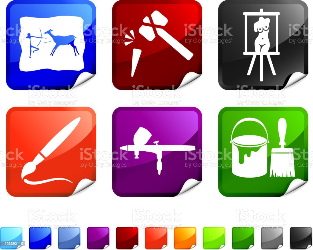 art in time royalty free vector icon set stickers royalty-free stock vector art