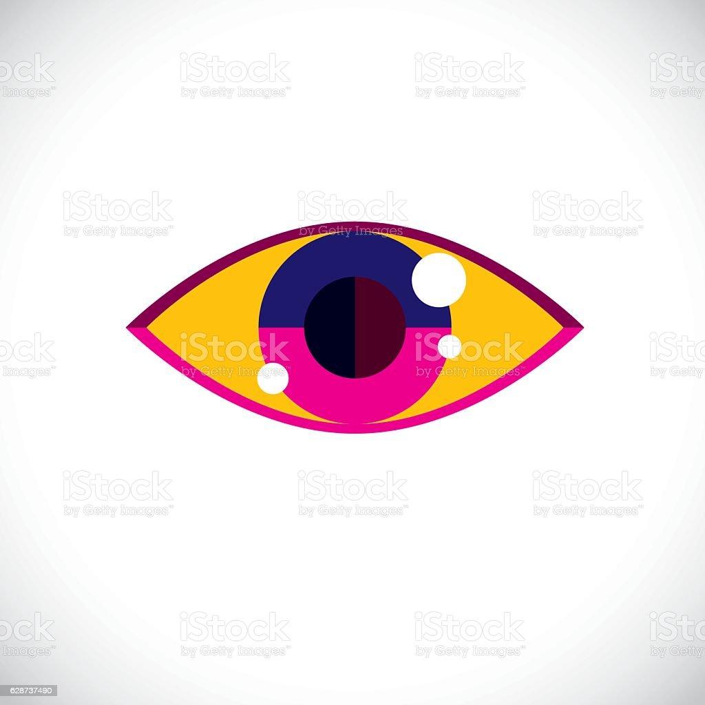 Art modern illustration of human eye, part of personality face, vector art illustration