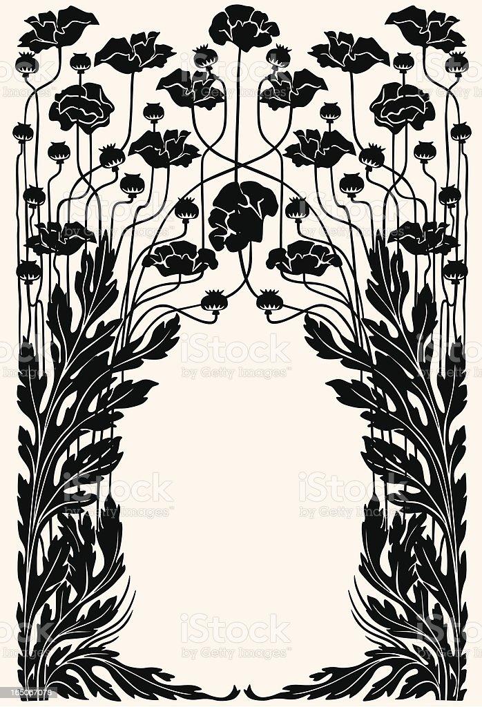 Art nouveau garden border vector art illustration