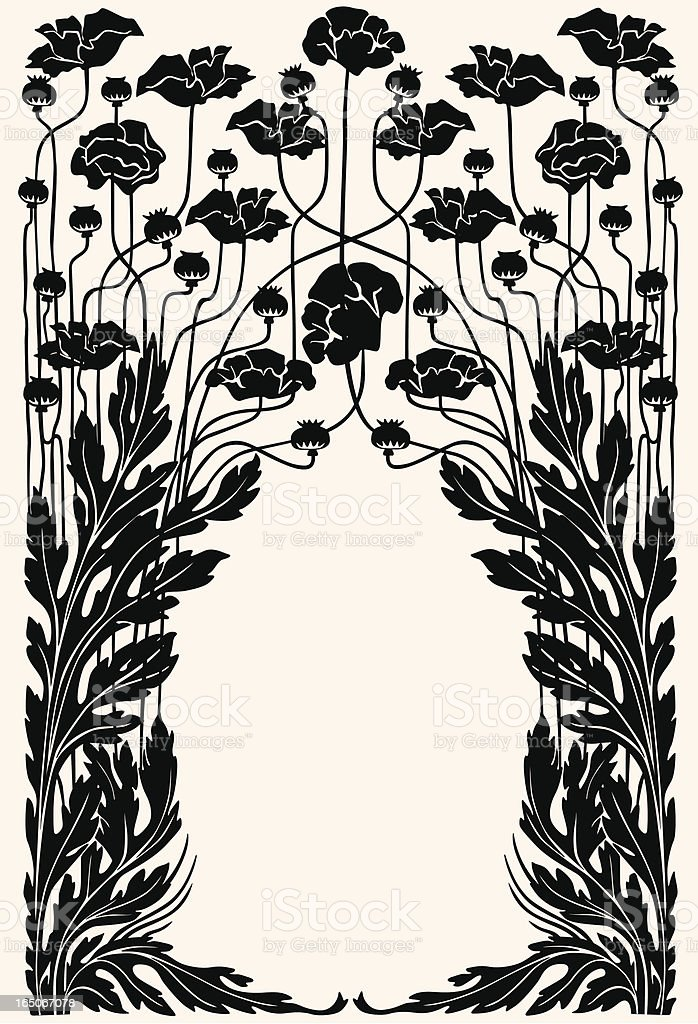 Art nouveau garden border vector art illustration