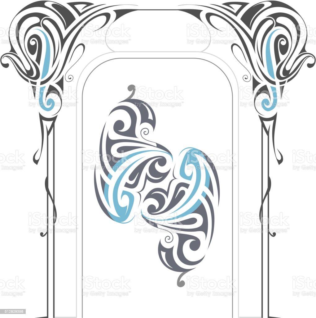 Art Nouveau style elements vector art illustration