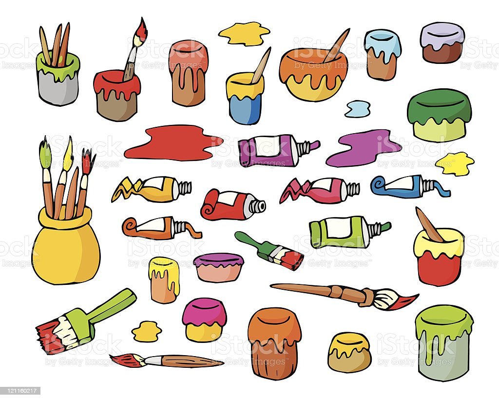 Art paints, tubes and brushes royalty-free stock vector art