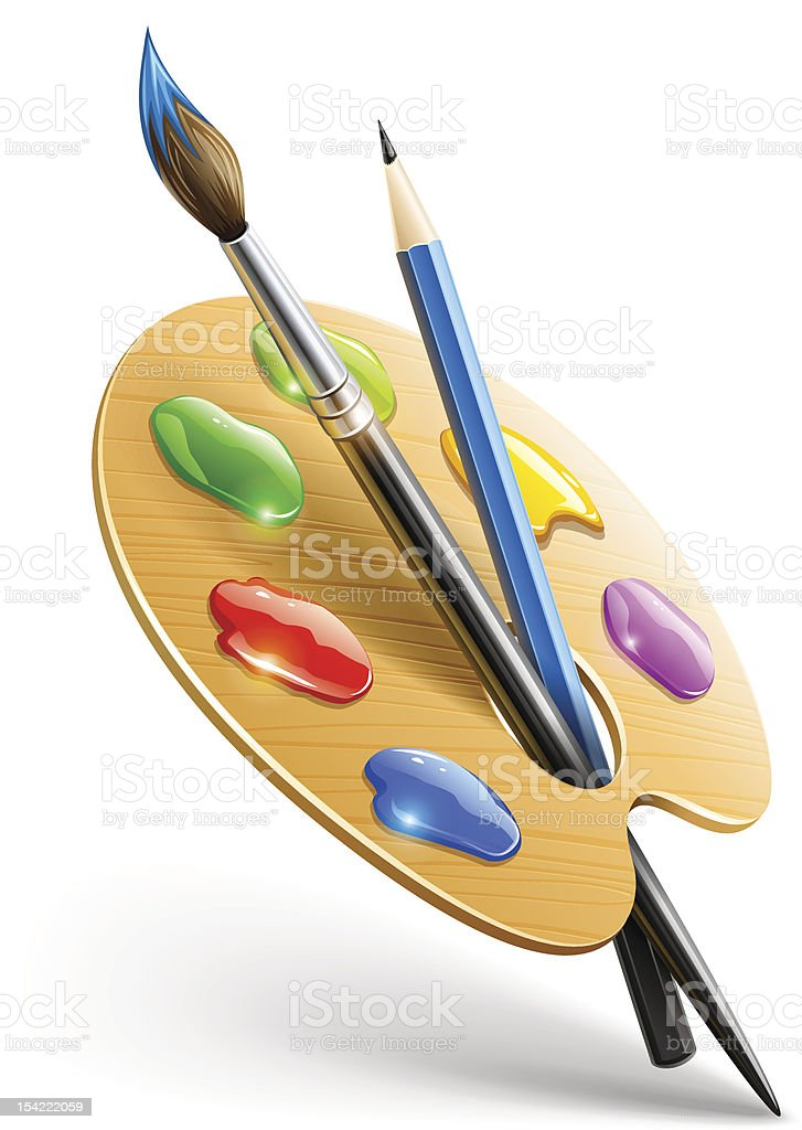 Art palette with paint brush and pencil royalty-free stock vector art