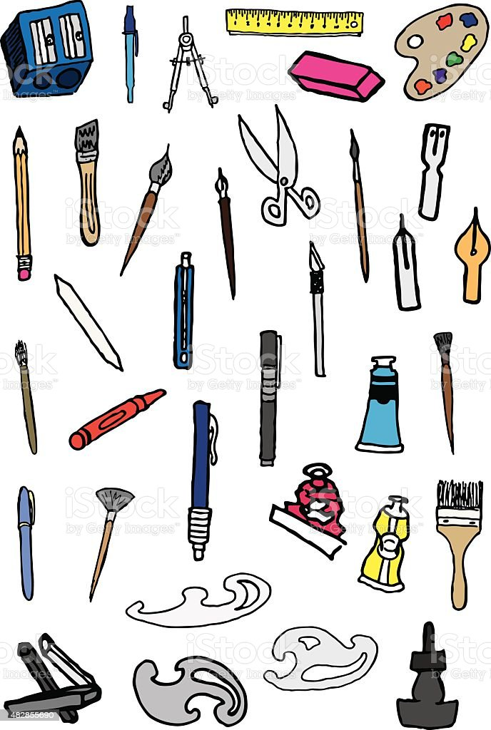 Art Supplies Doodles vector art illustration