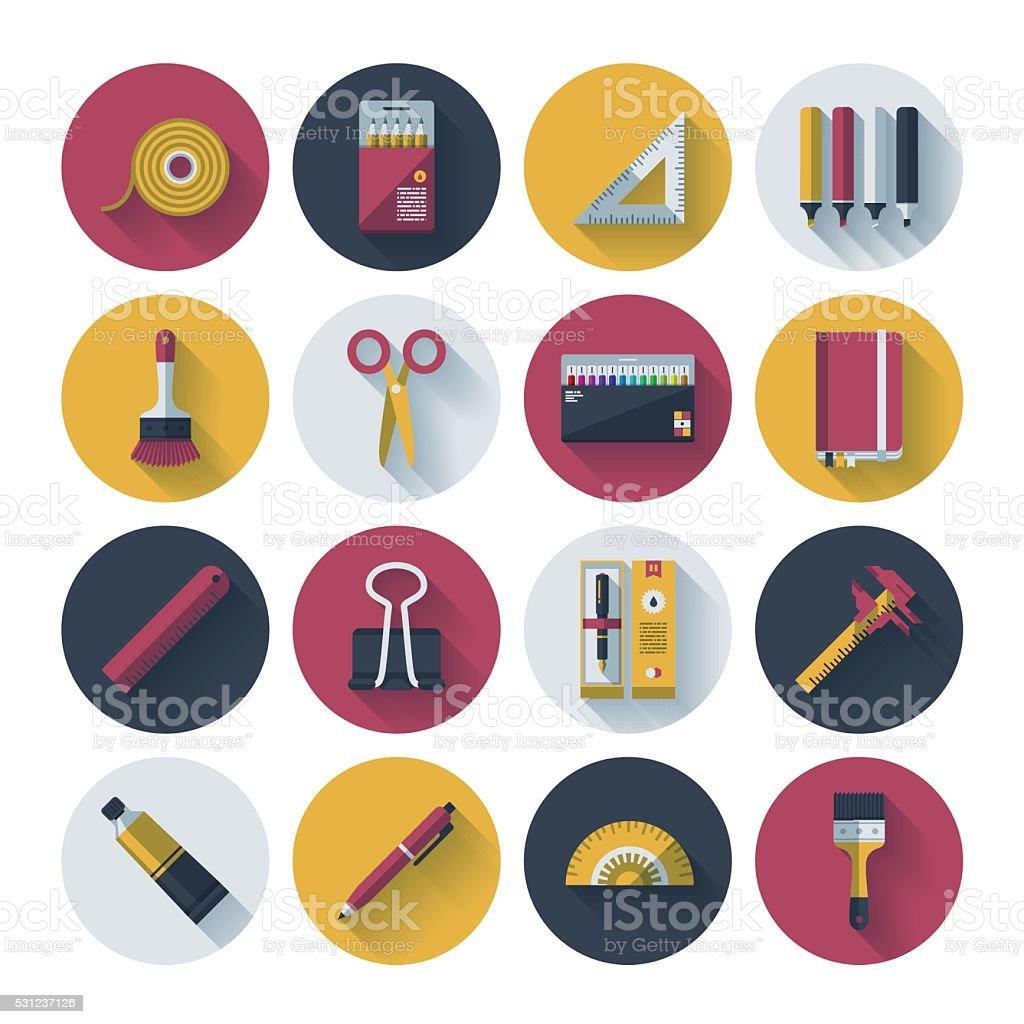 Art Supplies Icon Set vector art illustration