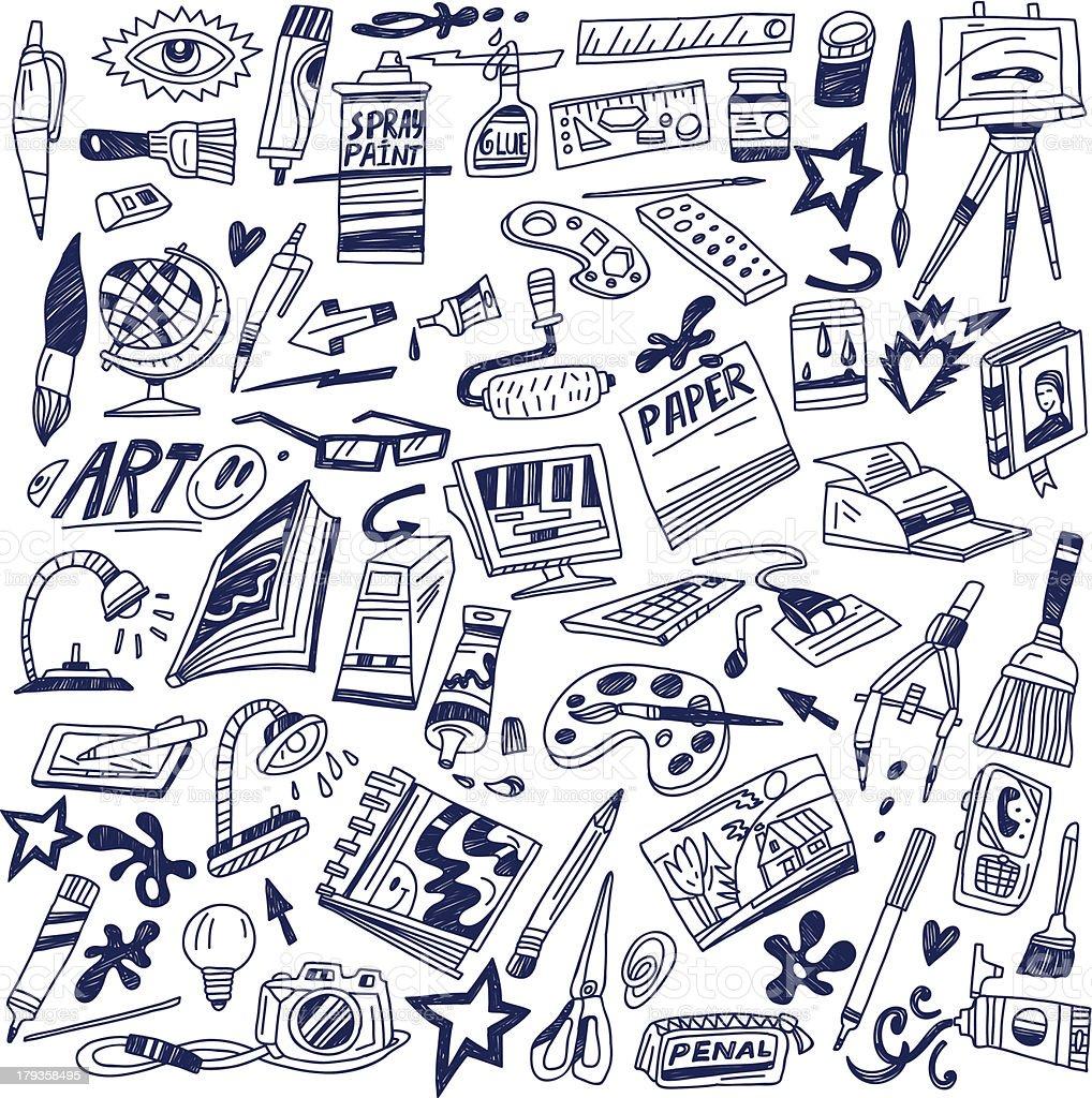 art tools - doodles vector art illustration