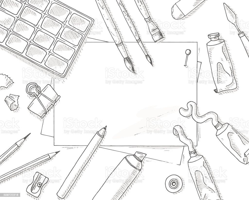 Art tools mockup vector art illustration