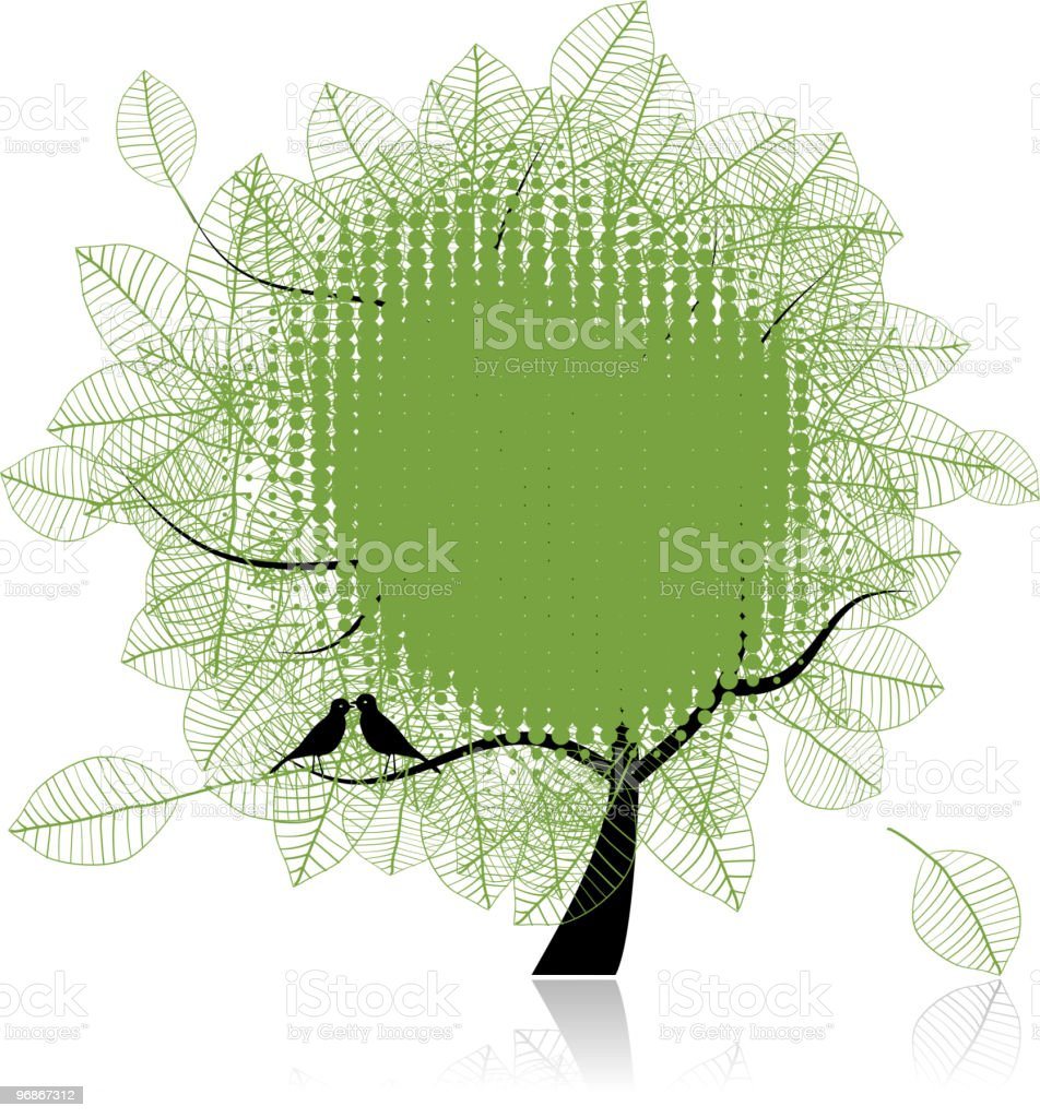Art tree beautiful, birds, place for your text royalty-free stock vector art