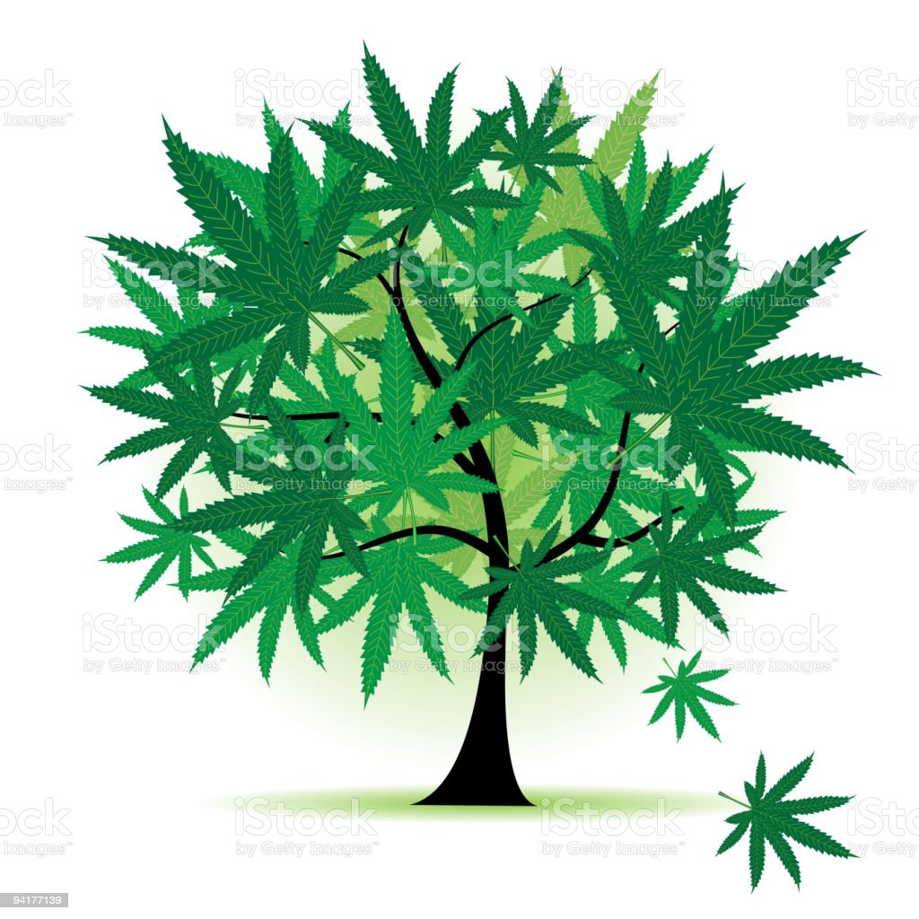 Art tree fantasy, cannabis leaf royalty-free stock vector art