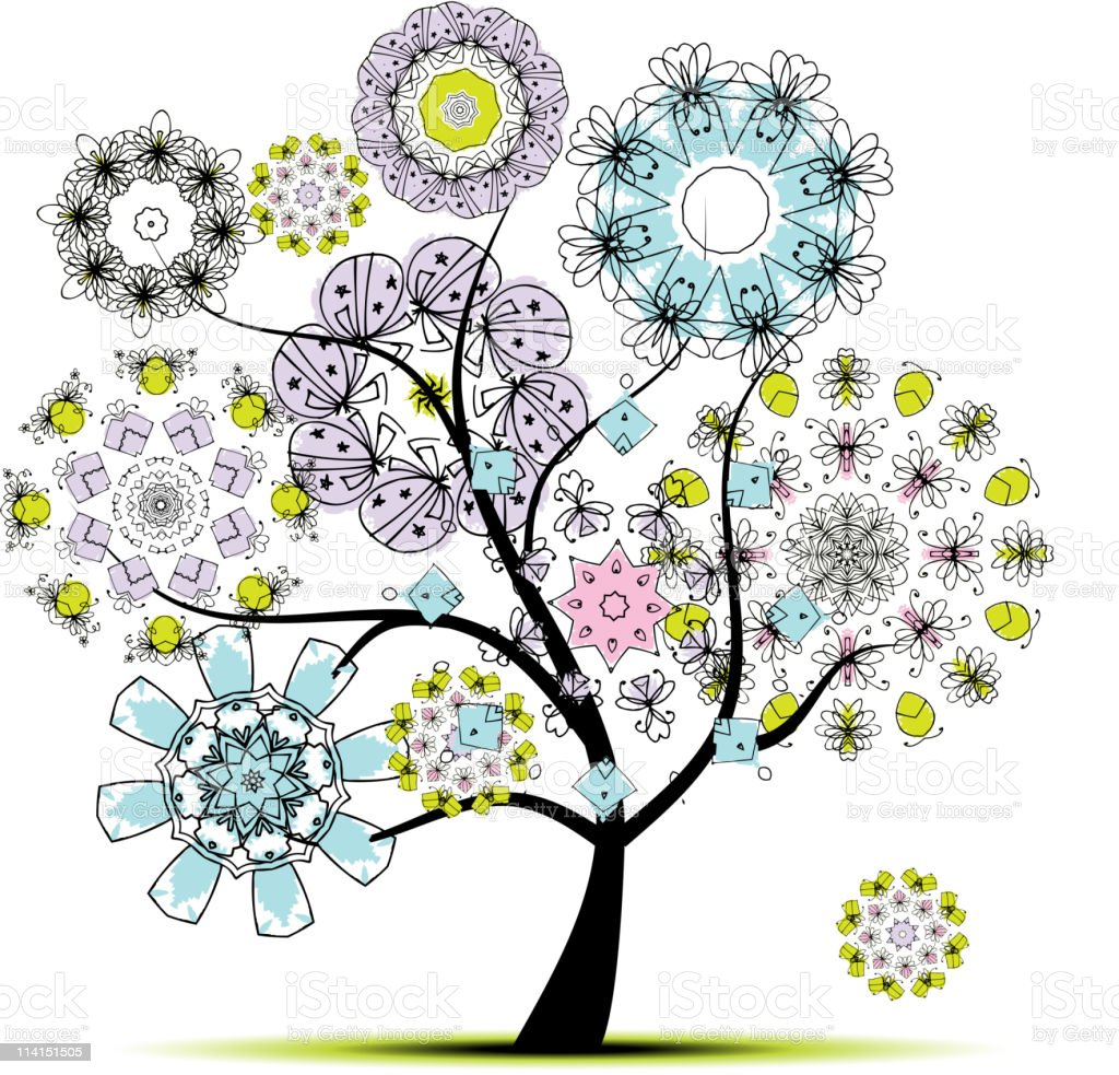 Art tree floral for your design royalty-free stock vector art