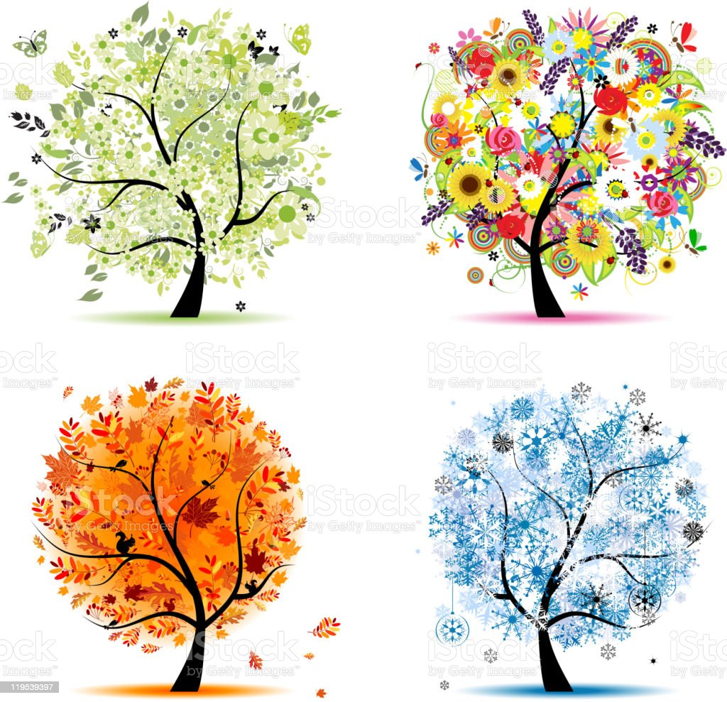 Art trees collection for your design, four seasons vector art illustration
