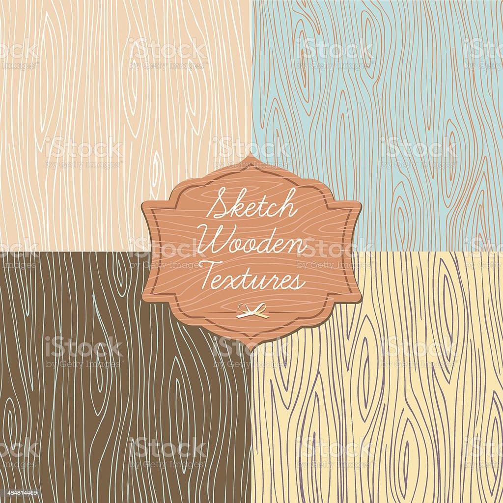 Art wooden texture with signboard vector art illustration