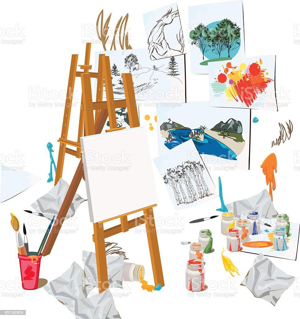 Art workshop interior vector art illustration