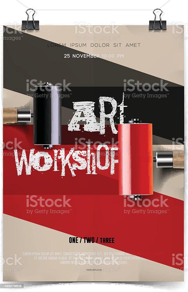 Art workshop template vector art illustration