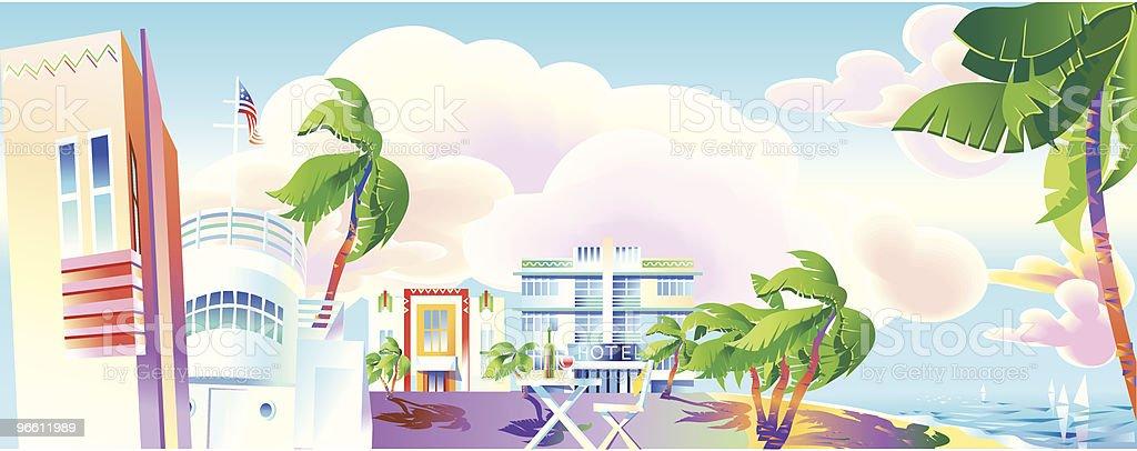 Art-Deco era Miami panoramic view royalty-free stock vector art