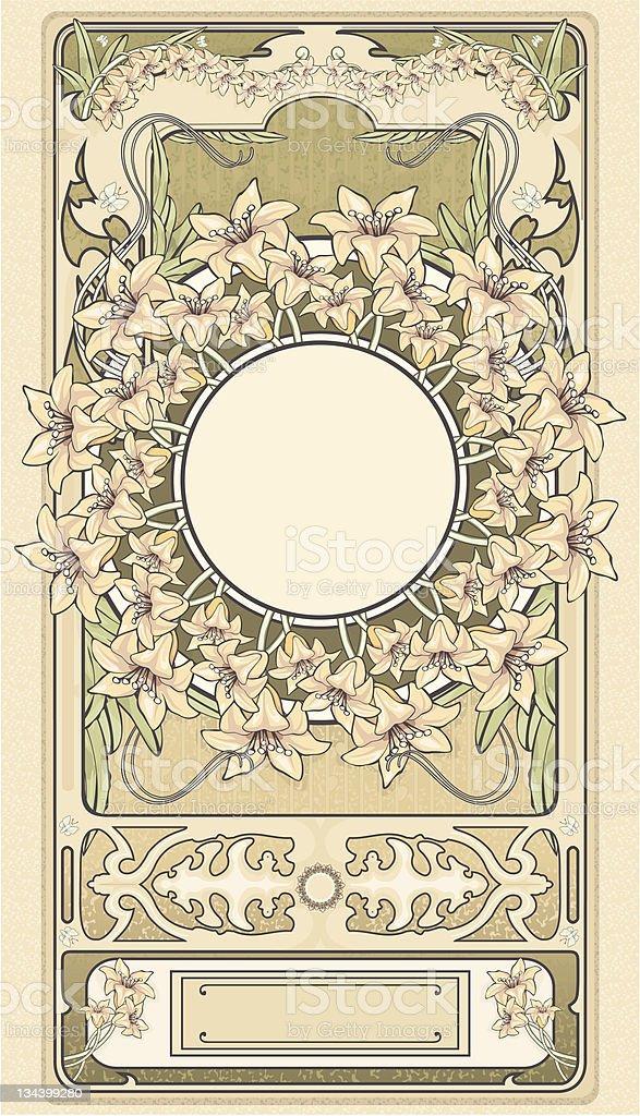 Art-deco floral frame LILIES stock photo