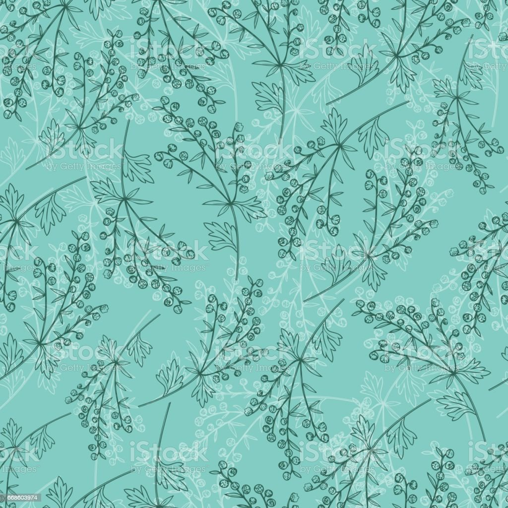 Artemisia absinthium, absinthe wormwood hand drawn vector ink color sketch, Absinthe plant, Doodle Healing, Vector seamless pattern, green background for cosmetics, design package, textile, wallpaper vector art illustration