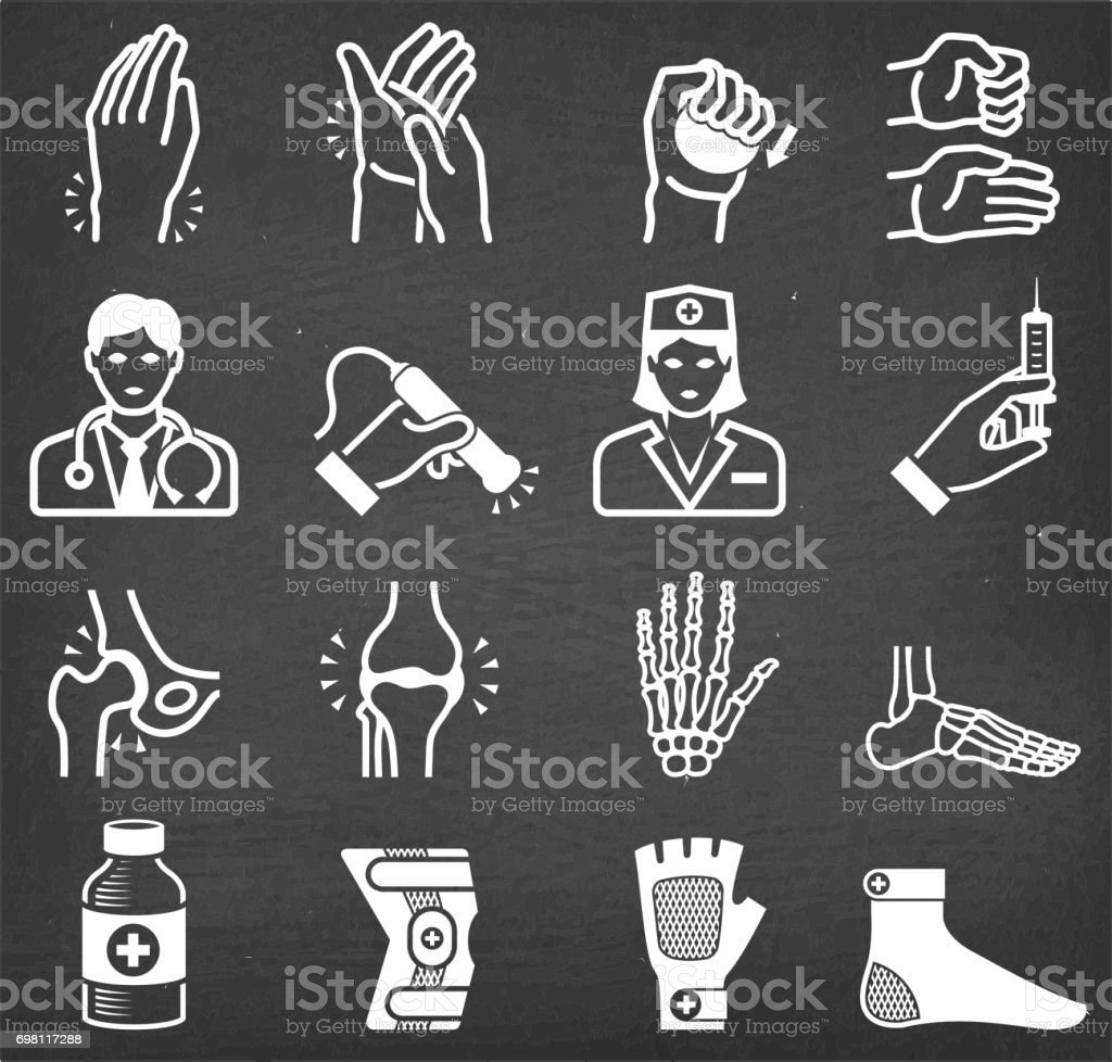 Arthritis Bones and Joints Pain Physical Theraphy icon set vector art illustration
