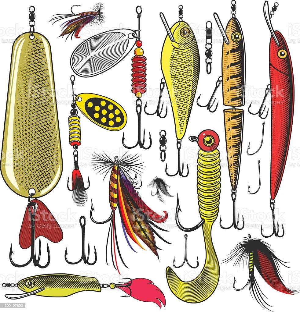 Artificial fishing lures vector art illustration