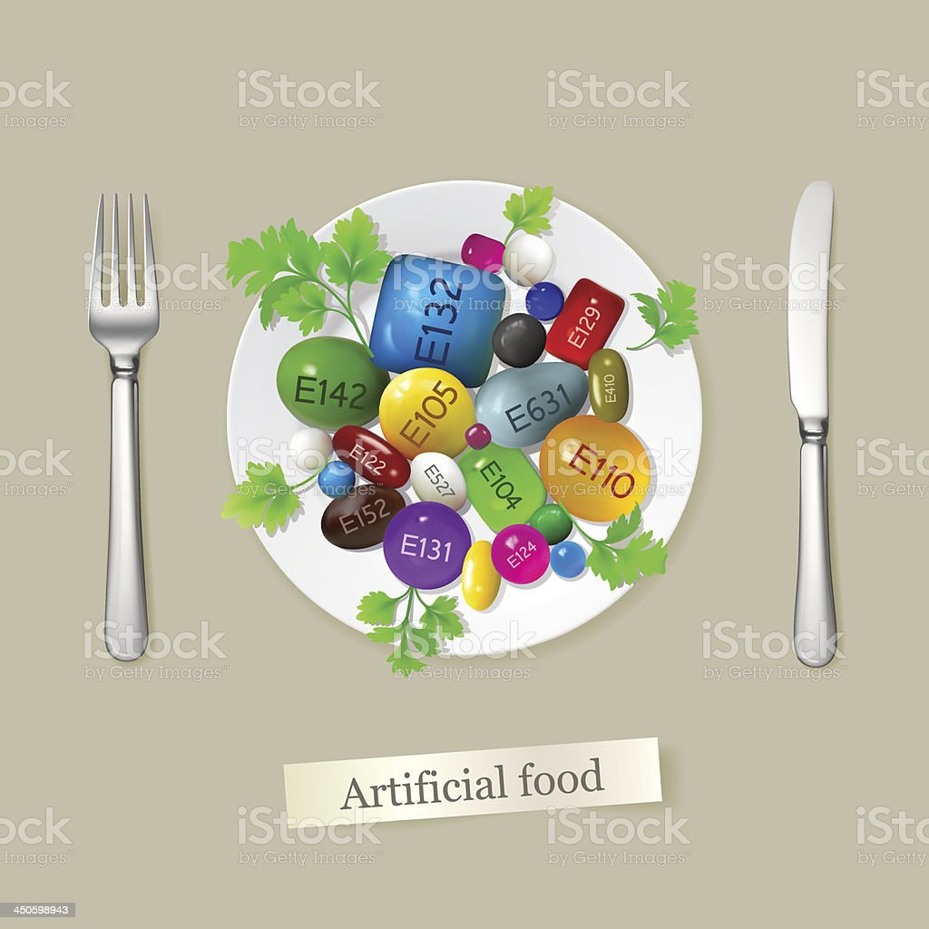 Artificial food vector art illustration