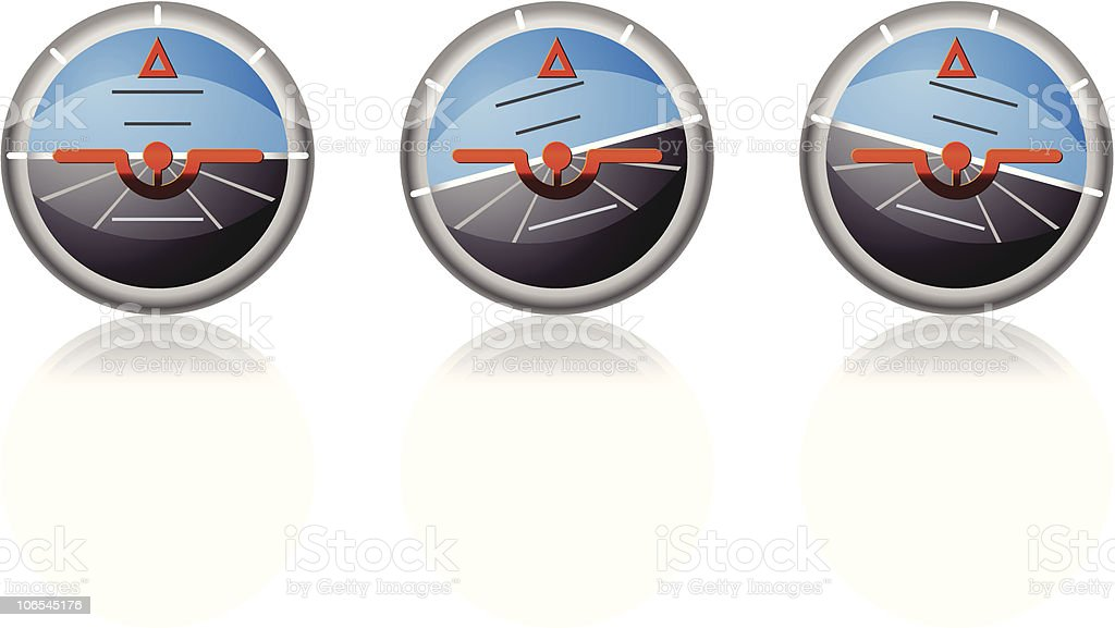 Artificial horizon, attitude indicator. royalty-free stock vector art