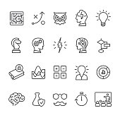Artificial Intelligence and Mind related vector icon set.