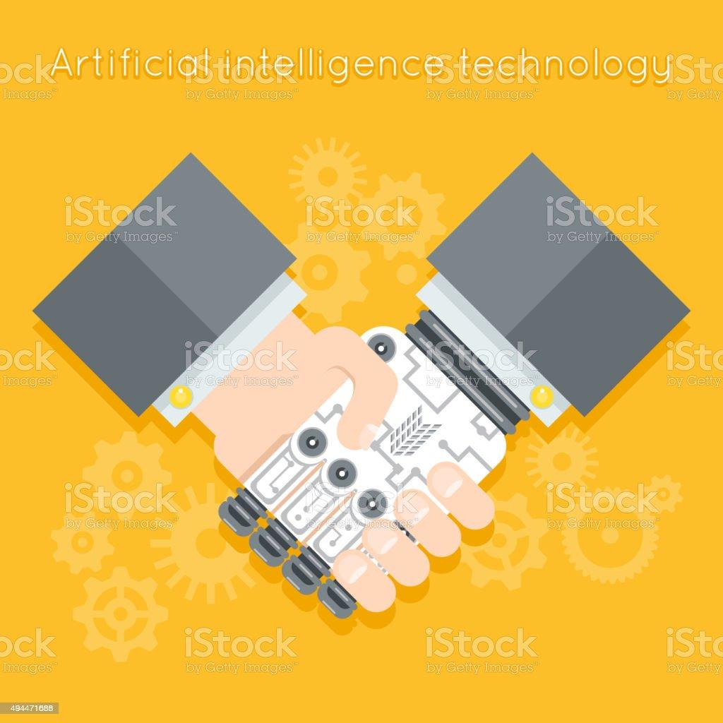 Artificial intelligence. Businessman and robot handshake vector art illustration