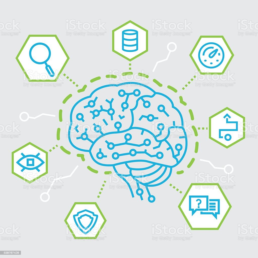 Artificial Intelligence, Communication, Functions and Electronic Mindmap vector art illustration