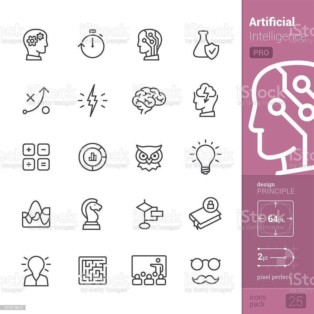 Artificial Intelligence vector icons - PRO pack vector art illustration
