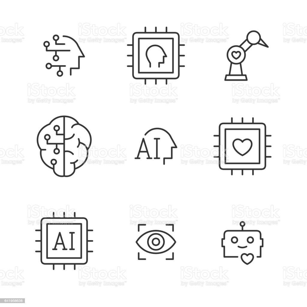 Artificial intelligence vector line icons. vector art illustration