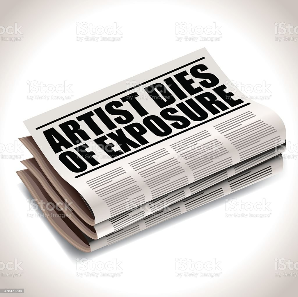 Artis dies of exposure newspaper headline. vector art illustration