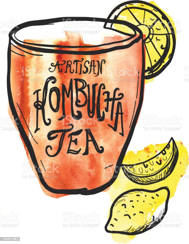 Artisan Kombucha Tea label hand lettering design vector art illustration