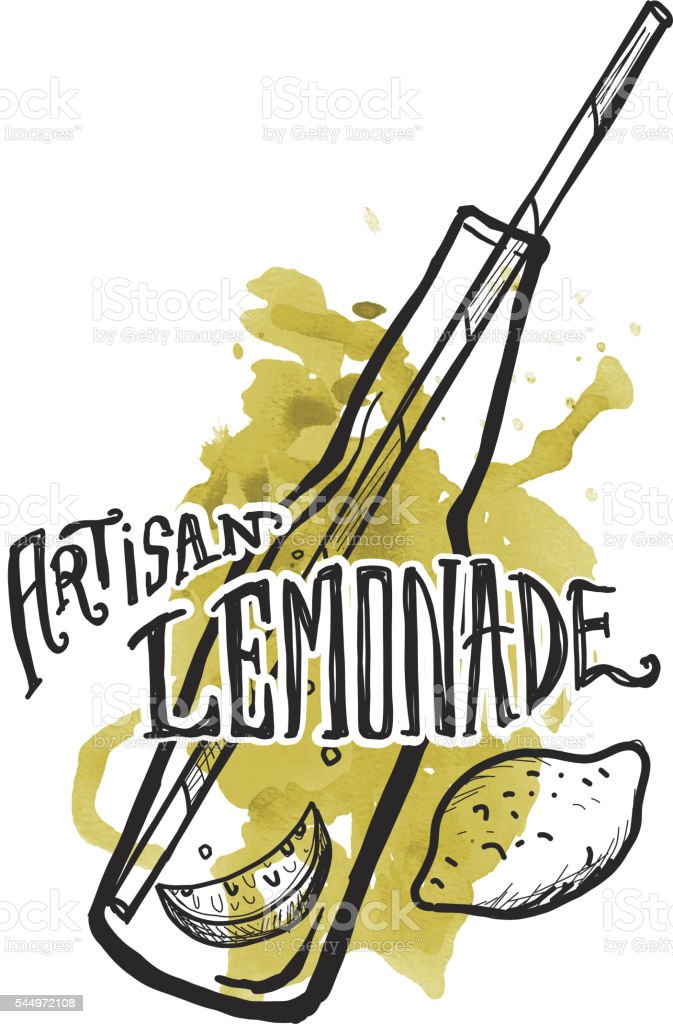 Artisan Lemonade label and bottle on watercolor vector art illustration