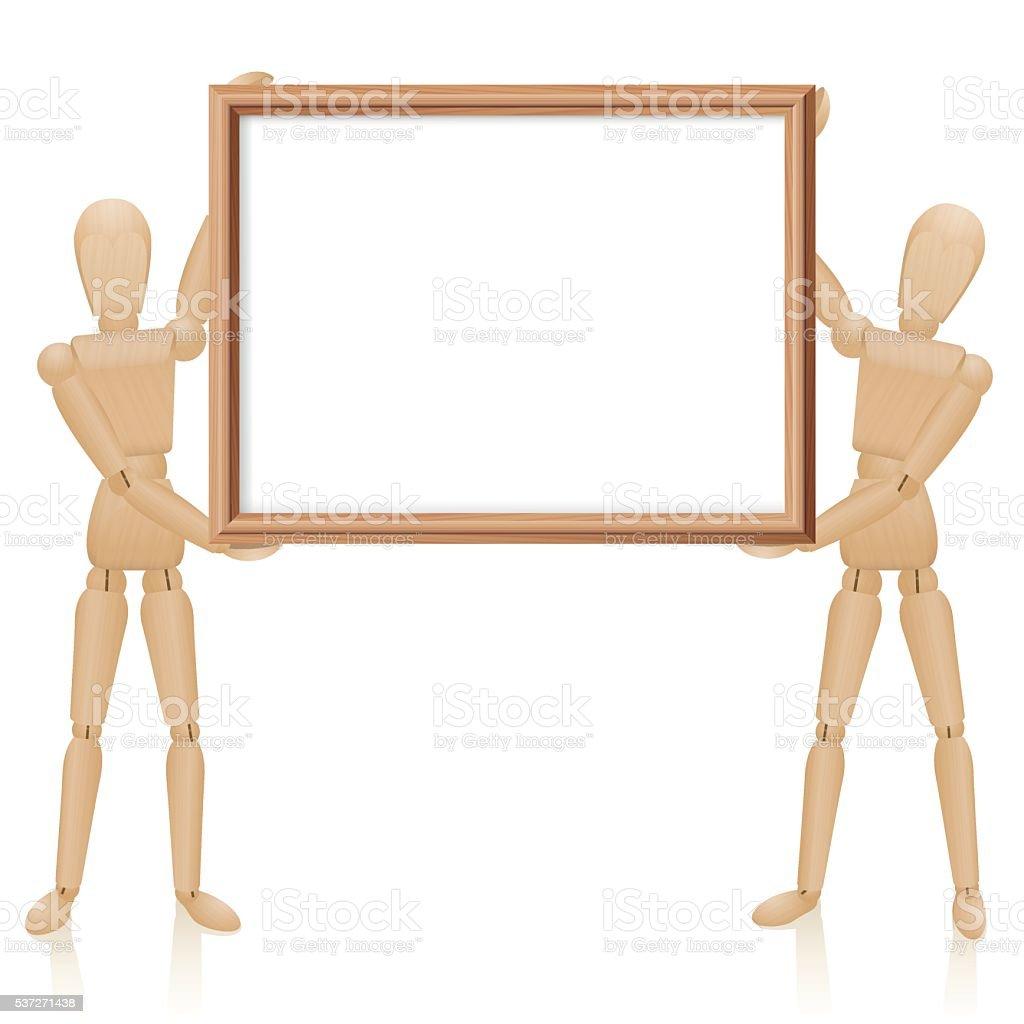 Artist Dolls Wooden Frame Blank vector art illustration