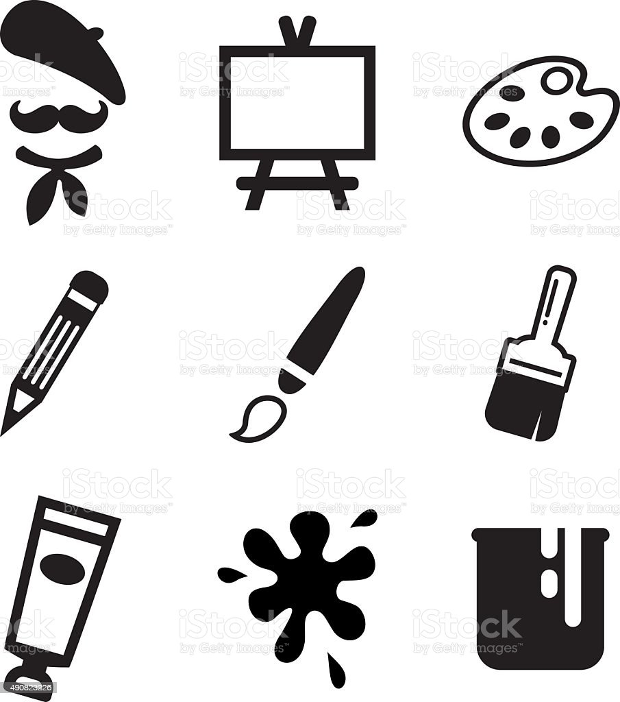 Artist Icons vector art illustration