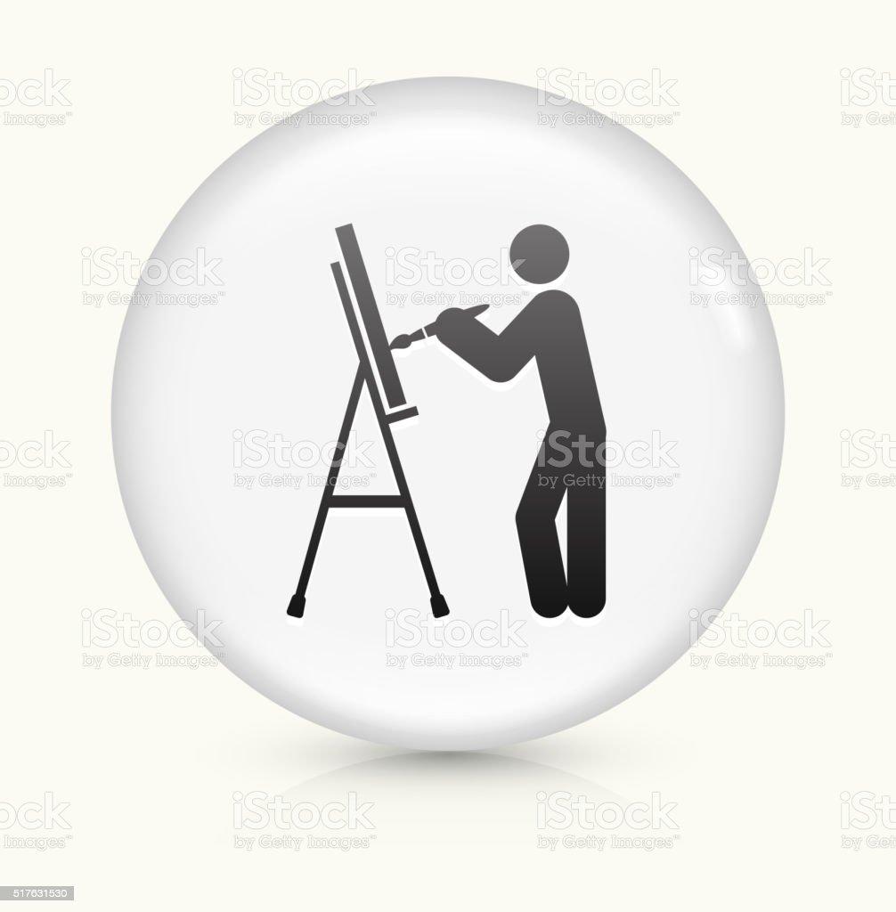 Artist Painting icon on white round vector button vector art illustration