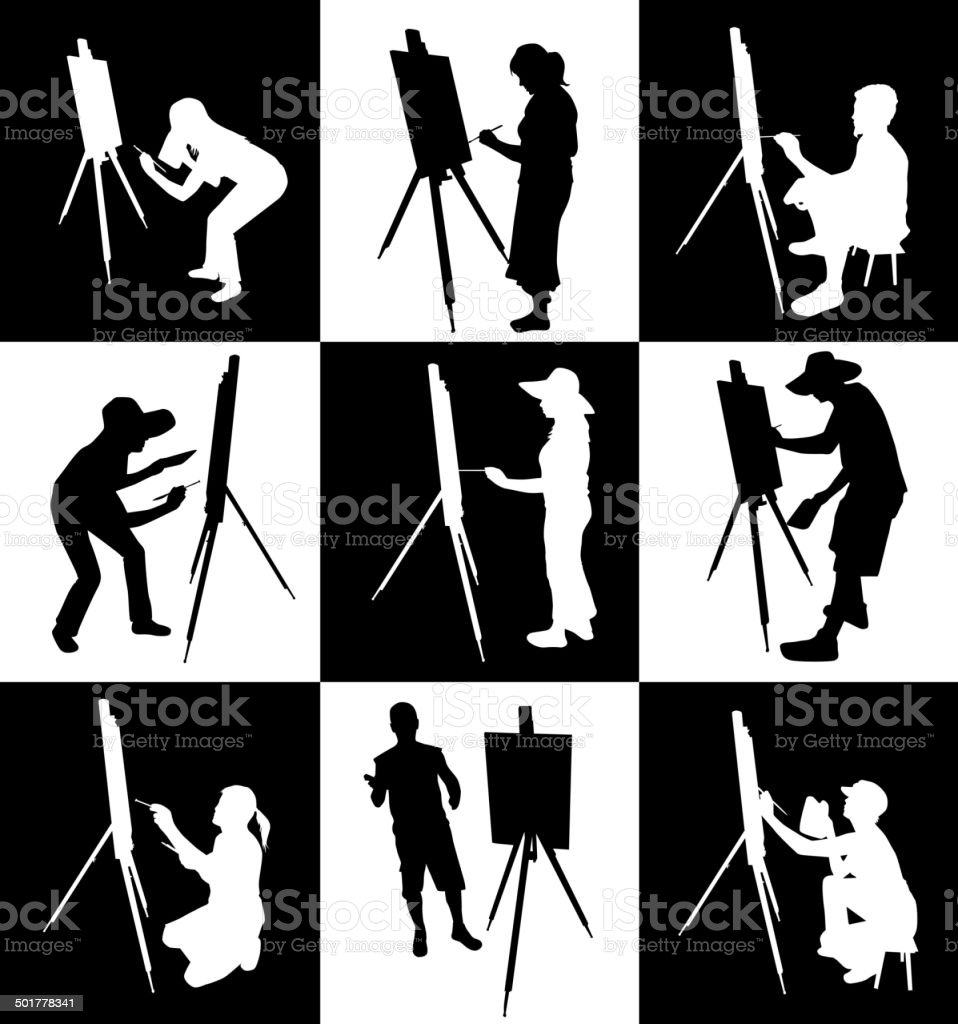 artist paints at easel royalty-free stock vector art