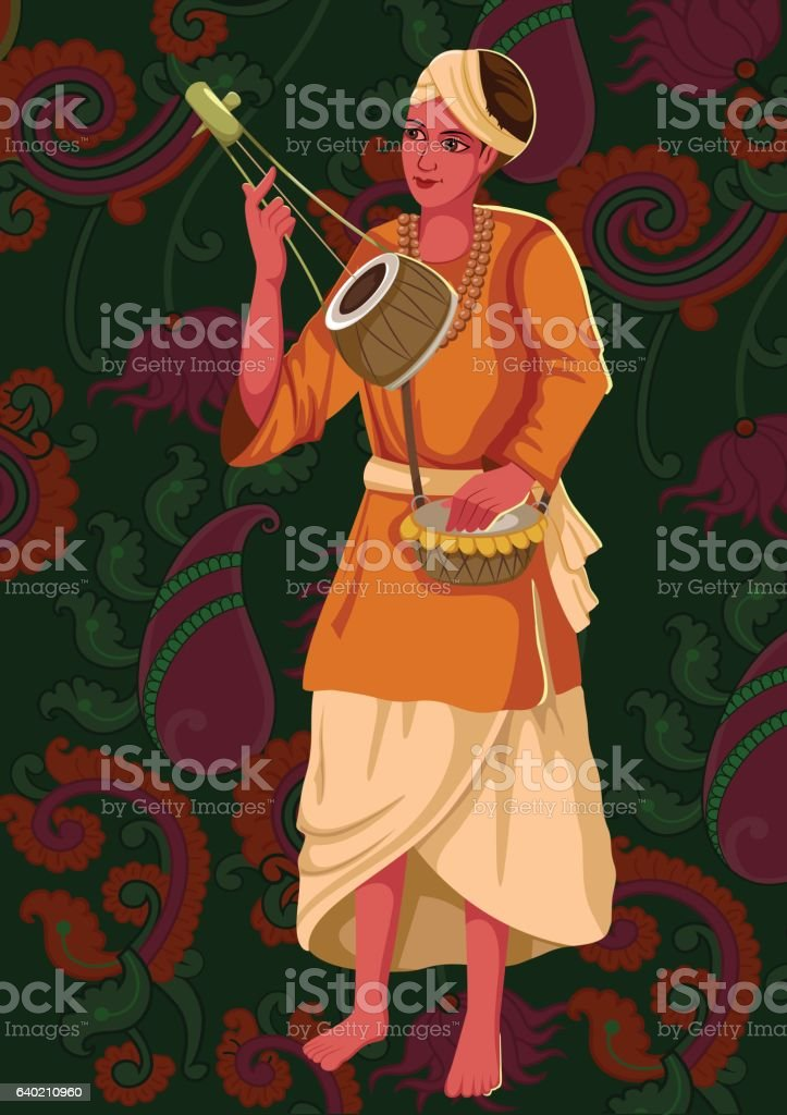 Artist playing Ektara folk music of India vector art illustration