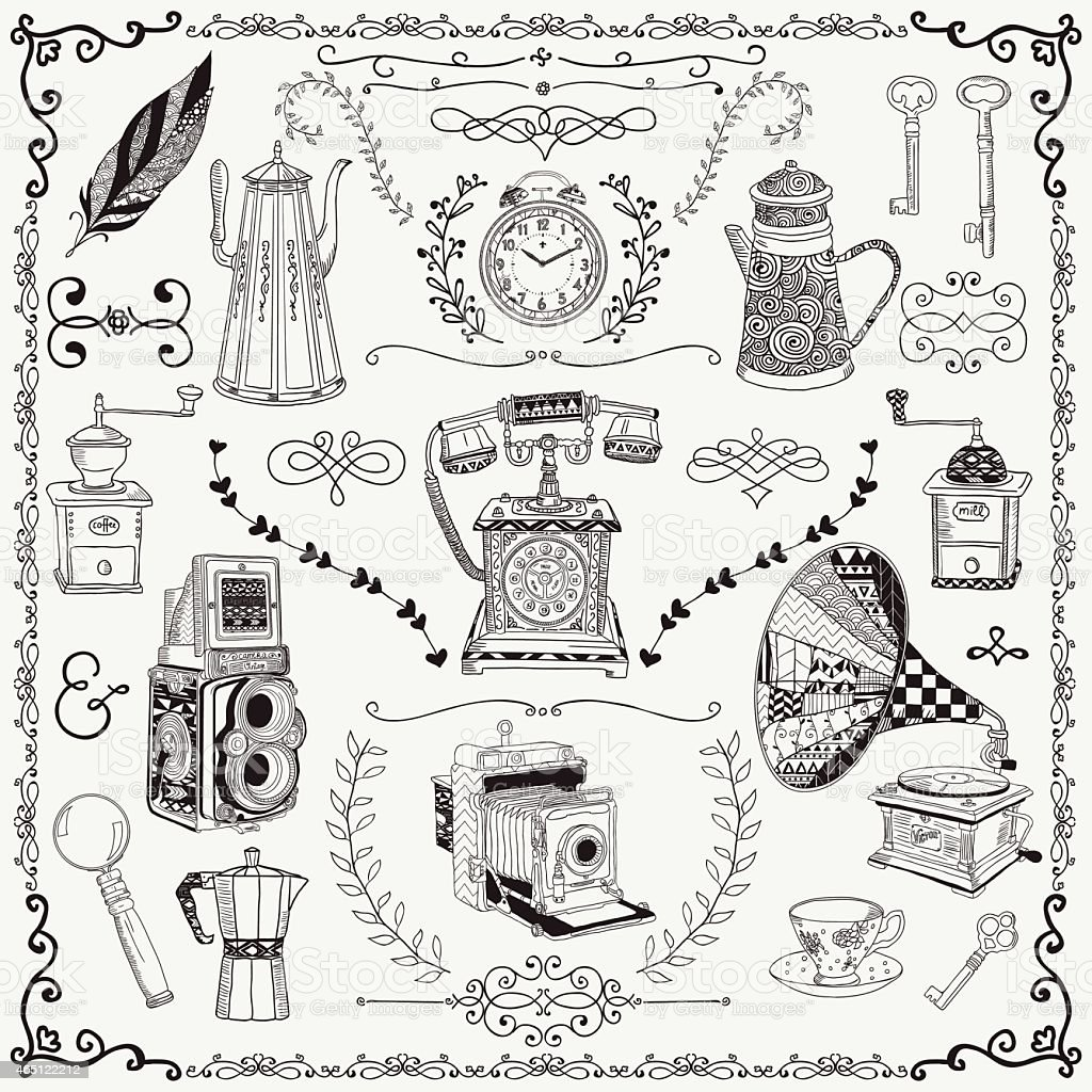 Artist rendering of vintage items vector art illustration