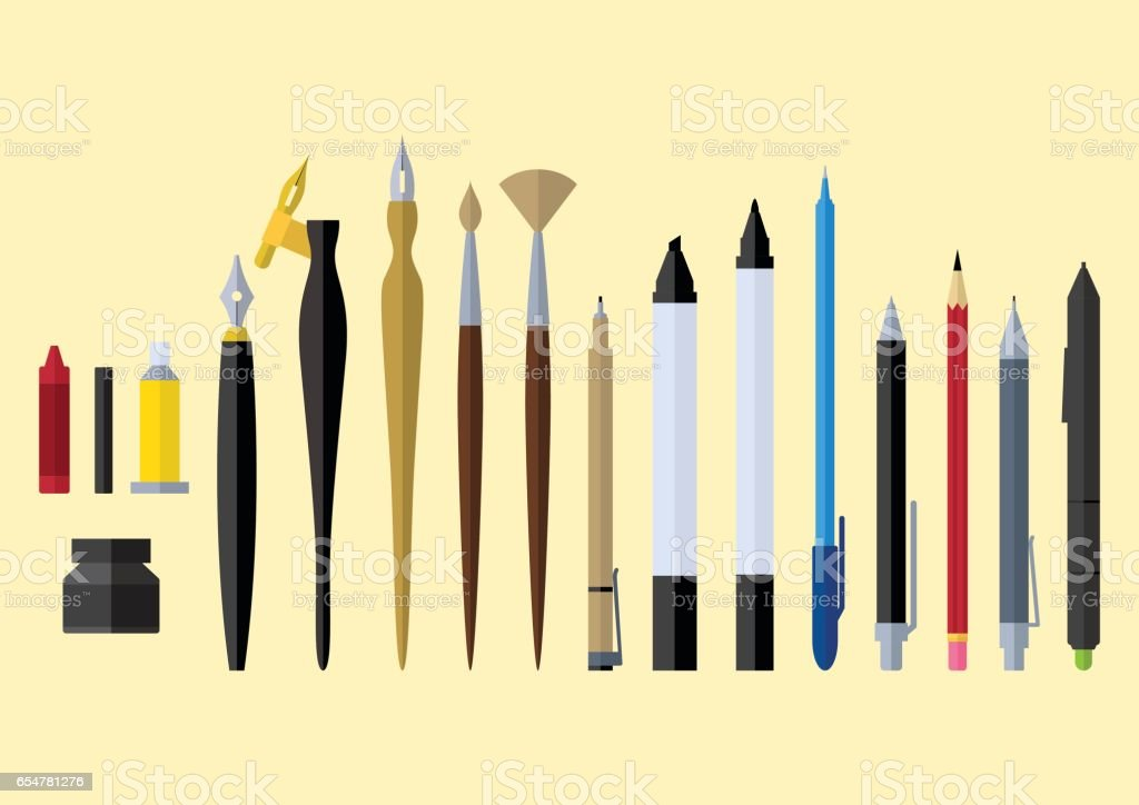 artist tools flat design vector art illustration