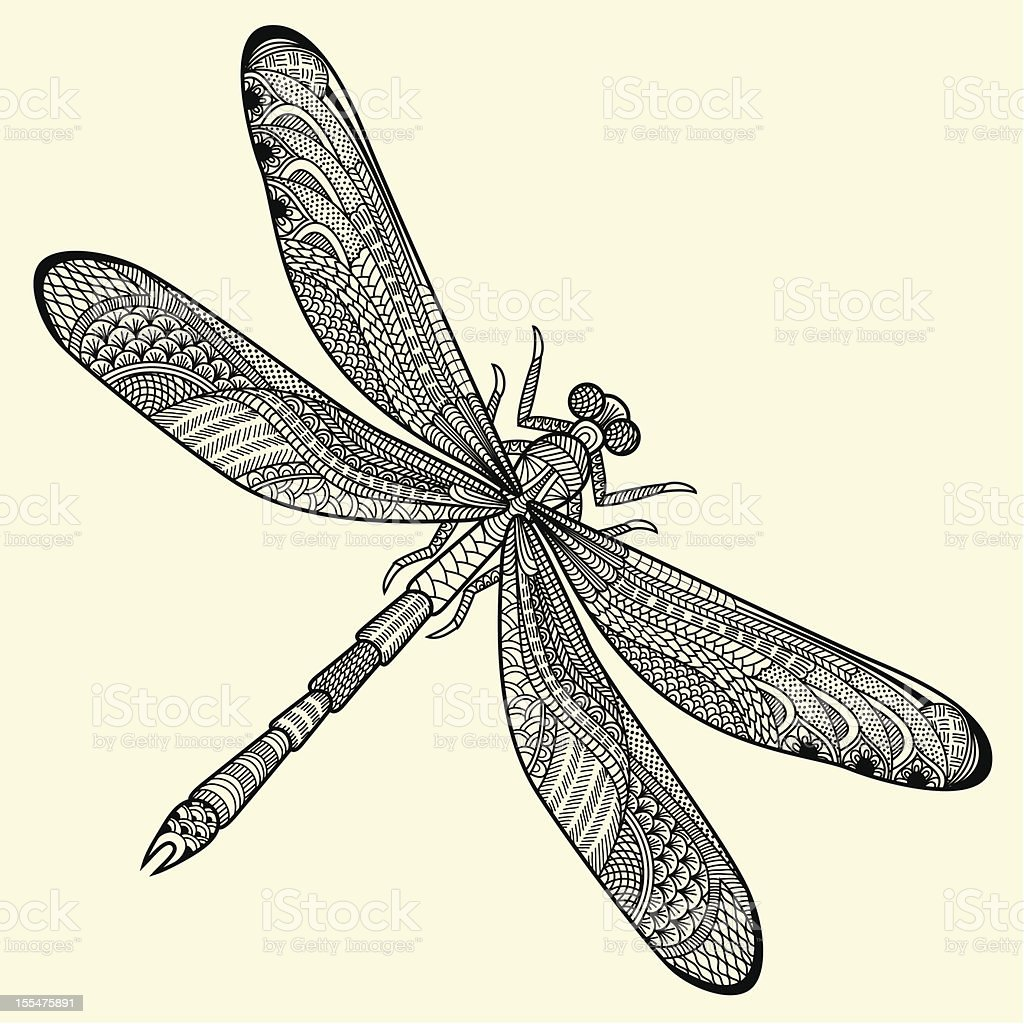 Artistic depiction of a dragonfly in black and white vector art illustration