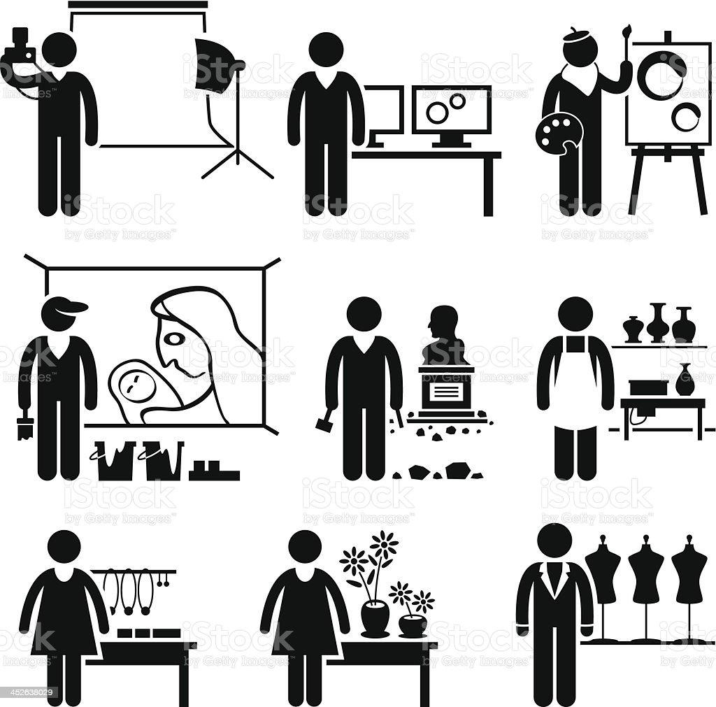 Artistic Designer Jobs Occupations Careers vector art illustration