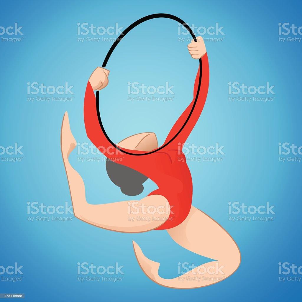 Artistic gymnastics, hula hoop sport, games vector art illustration