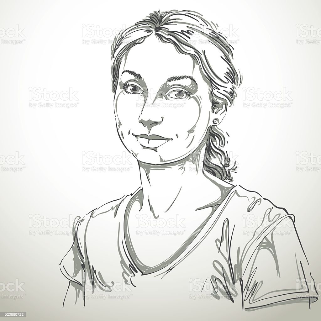 Artistic hand-drawn vector image, black and white portrait of woman vector art illustration