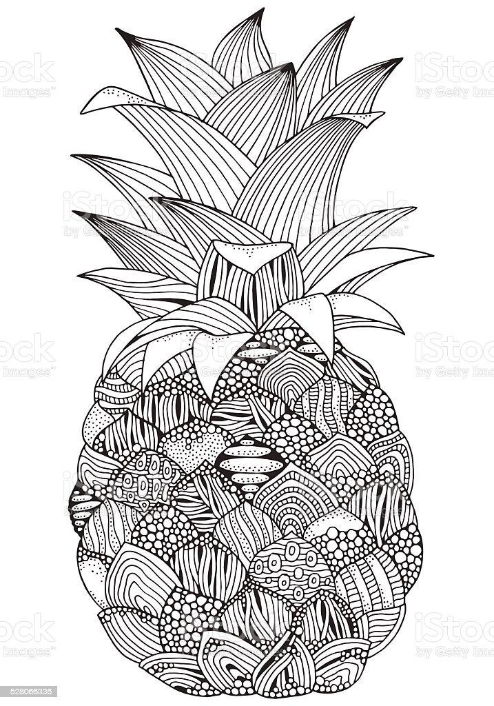 Artistic pineapple on white background. vector art illustration