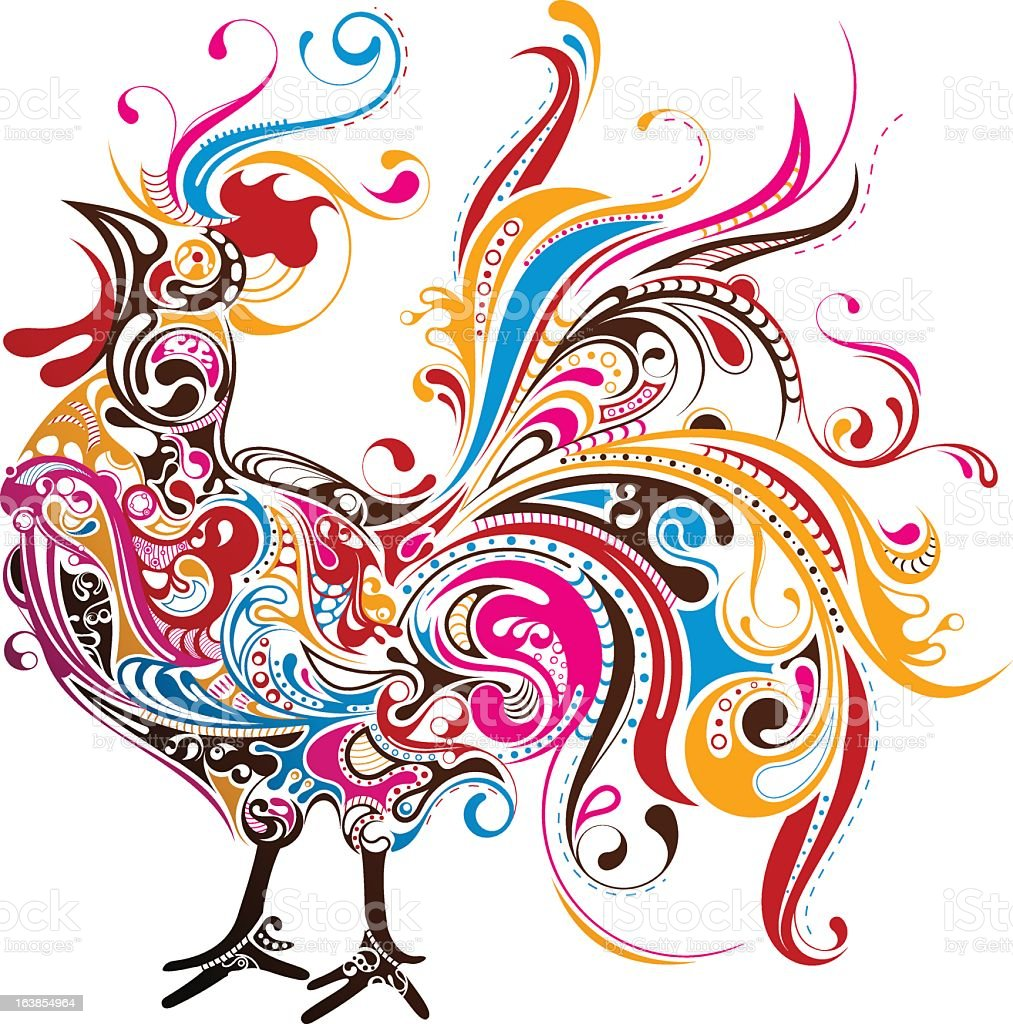 Artistic rendering of colorful rooster vector art illustration