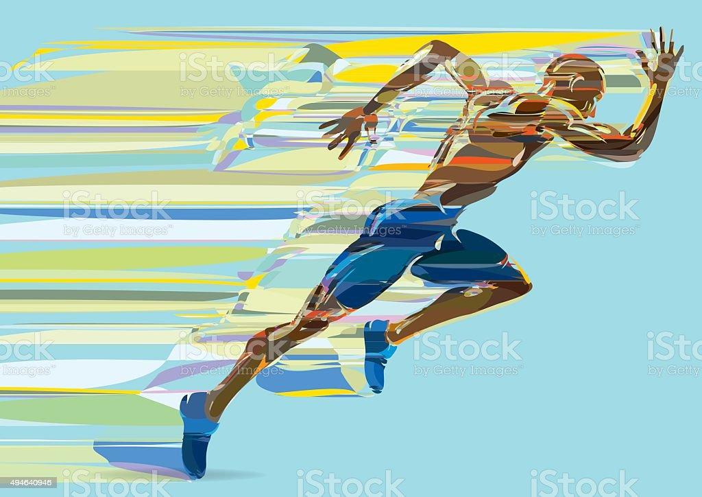 Artistic stylized running man in motion. vector art illustration